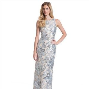 Nude and Silver Sequin Gown